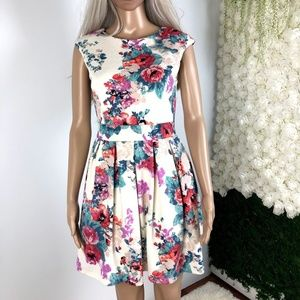 Floral Printed Open-Back Fit & Flare Dress Small